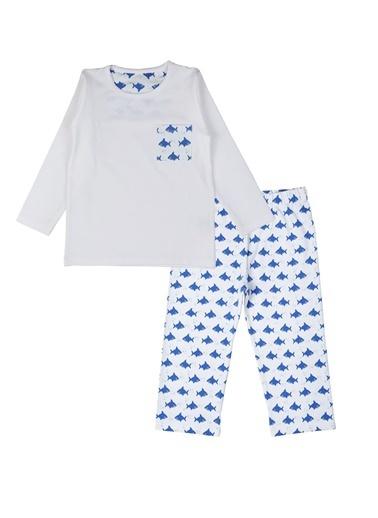 Nila Kids Shark Organik Pamuk Pijama Takımı Beyaz